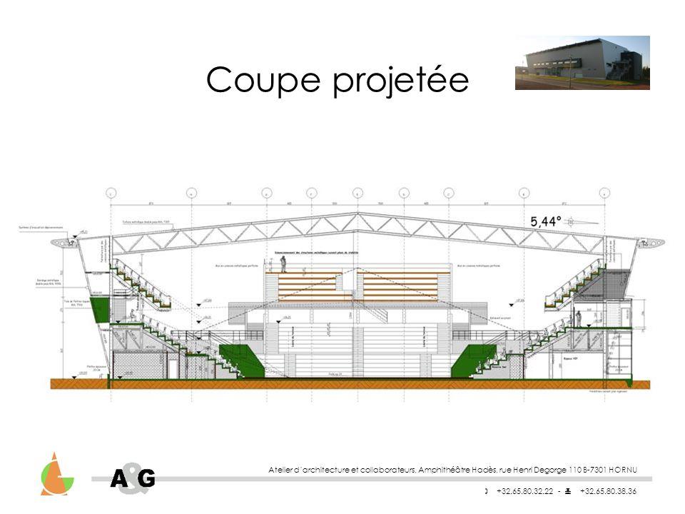 Atelier darchitecture et collaborateurs, Amphithéâtre Hadès, rue Henri Degorge 110 B-7301 HORNU +32.65.80.32.22 - +32.65.80.38.36 Coupe projetée