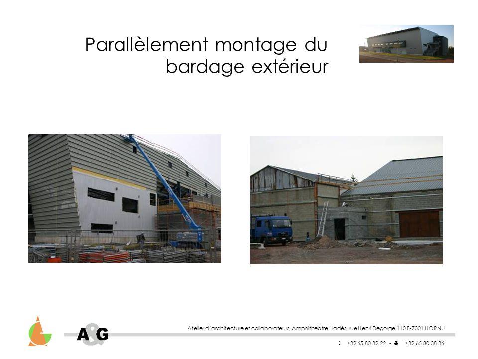 Atelier darchitecture et collaborateurs, Amphithéâtre Hadès, rue Henri Degorge 110 B-7301 HORNU +32.65.80.32.22 - +32.65.80.38.36 Parallèlement montage du bardage extérieur