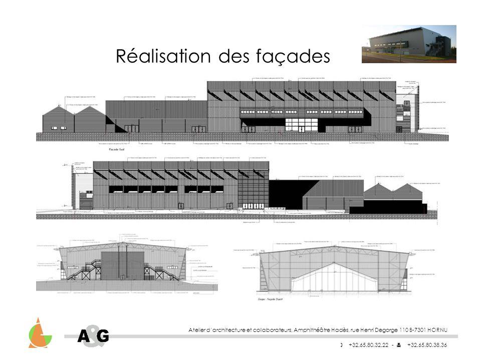 Atelier darchitecture et collaborateurs, Amphithéâtre Hadès, rue Henri Degorge 110 B-7301 HORNU +32.65.80.32.22 - +32.65.80.38.36 Réalisation des façades