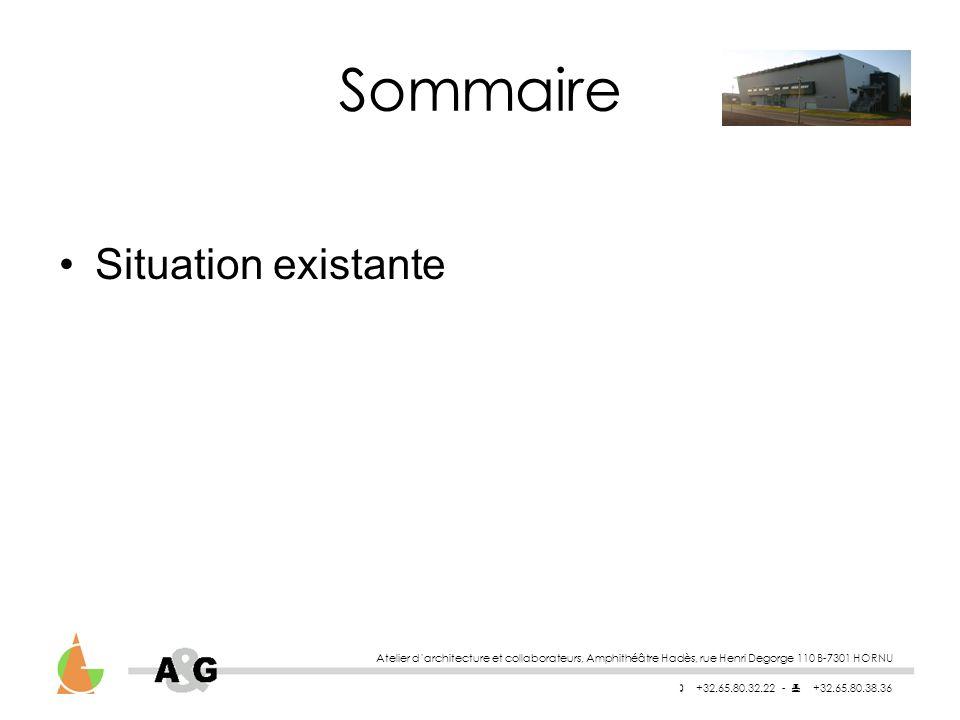 Atelier darchitecture et collaborateurs, Amphithéâtre Hadès, rue Henri Degorge 110 B-7301 HORNU +32.65.80.32.22 - +32.65.80.38.36 Sommaire Situation existante