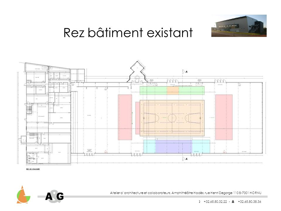 Atelier darchitecture et collaborateurs, Amphithéâtre Hadès, rue Henri Degorge 110 B-7301 HORNU +32.65.80.32.22 - +32.65.80.38.36 Vues extérieures de la salle