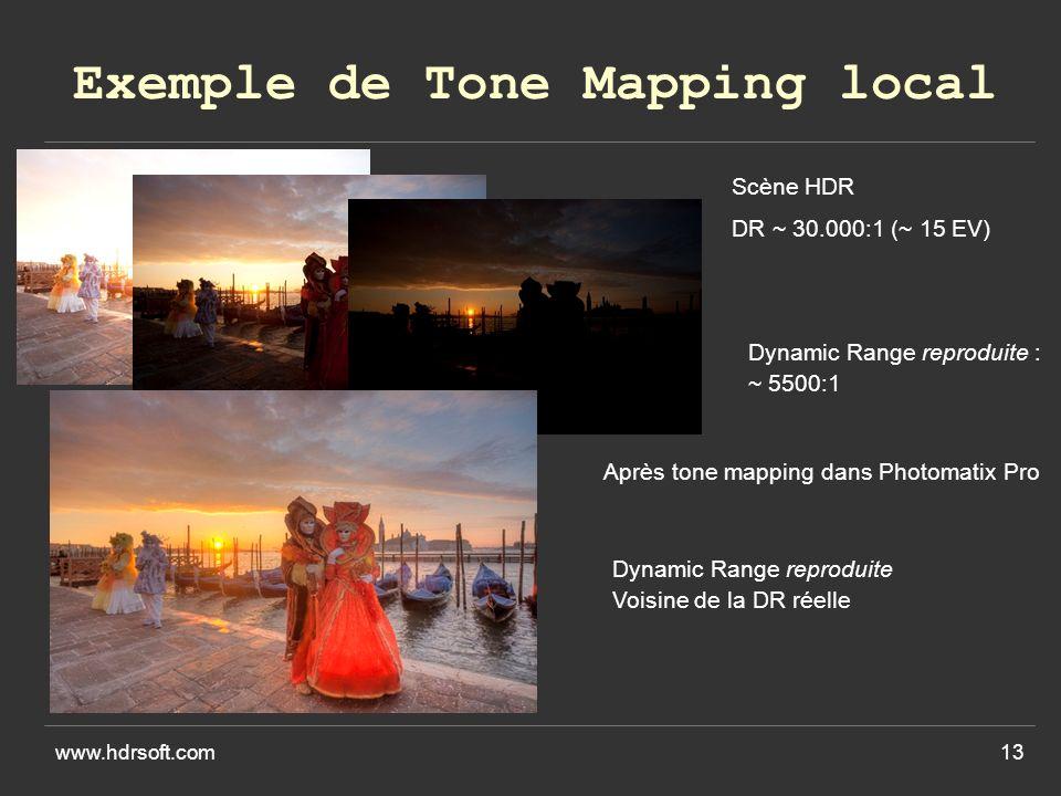 www.hdrsoft.com13 Exemple de Tone Mapping local Scène HDR DR ~ 30.000:1 (~ 15 EV) Dynamic Range reproduite : ~ 5500:1 Après tone mapping dans Photomatix Pro Dynamic Range reproduite Voisine de la DR réelle