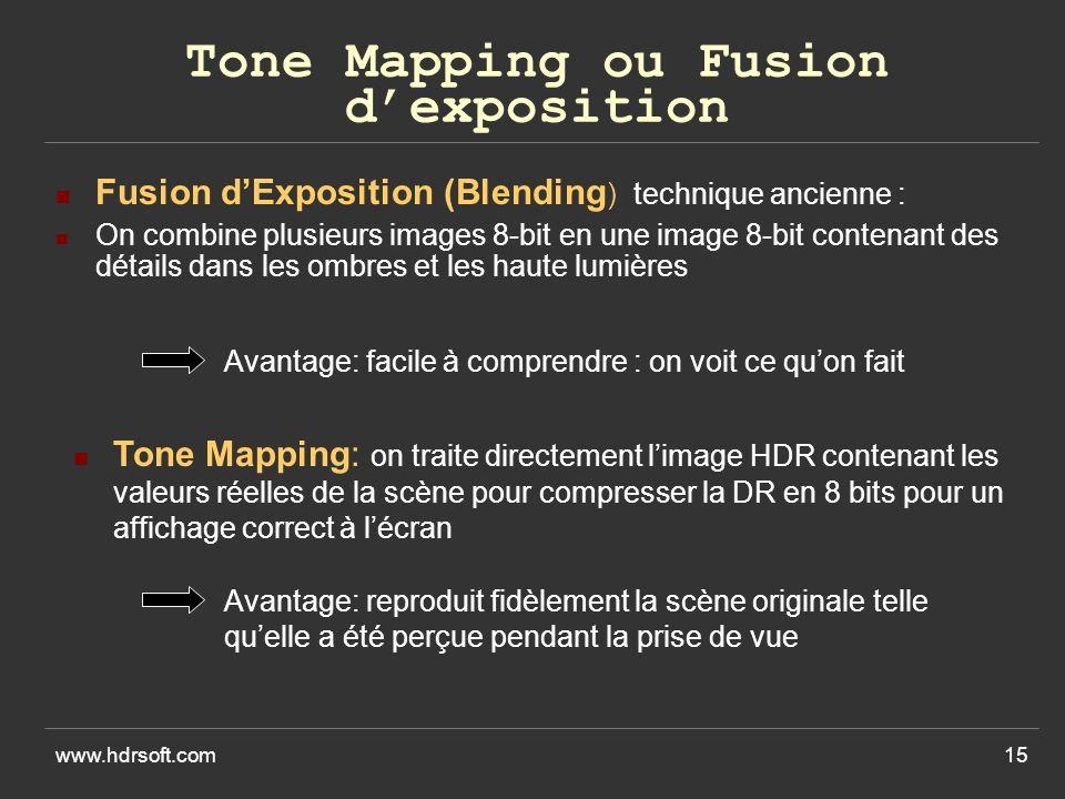 www.hdrsoft.com15 Tone Mapping ou Fusion dexposition Fusion dExposition (Blending ) technique ancienne : On combine plusieurs images 8-bit en une image 8-bit contenant des détails dans les ombres et les haute lumières Tone Mapping: on traite directement limage HDR contenant les valeurs réelles de la scène pour compresser la DR en 8 bits pour un affichage correct à lécran Avantage: facile à comprendre : on voit ce quon fait Avantage: reproduit fidèlement la scène originale telle quelle a été perçue pendant la prise de vue