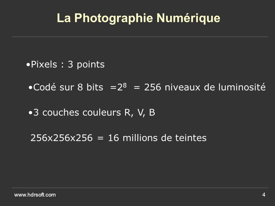www.hdrsoft.com4 La Photographie Numérique Pixels : 3 points 3 couches couleurs R, V, B Codé sur 8 bits =2 8 = 256 niveaux de luminosité 256x256x256 = 16 millions de teintes