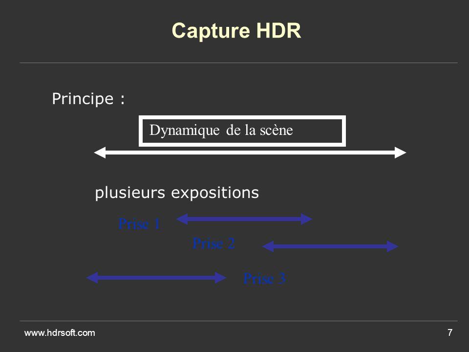 www.hdrsoft.com7 Capture HDR Principe : Dynamique de la scène Prise 1 Prise 2 Prise 3 plusieurs expositions