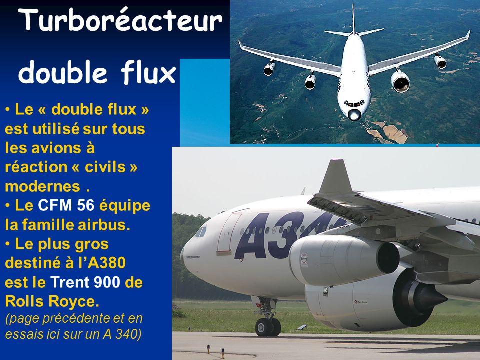 Turboréacteur double flux : Le « double flux » est utilisé sur tous les avions à réaction « civils » modernes. Le CFM 56 équipe la famille airbus. Le