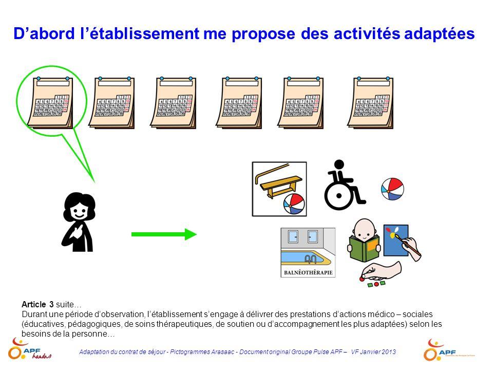 Adaptation du contrat de séjour - Pictogrammes Arasaac - Document original Groupe Pulse APF – VF Janvier 2013 Article 3 suite… Durant une période dobs