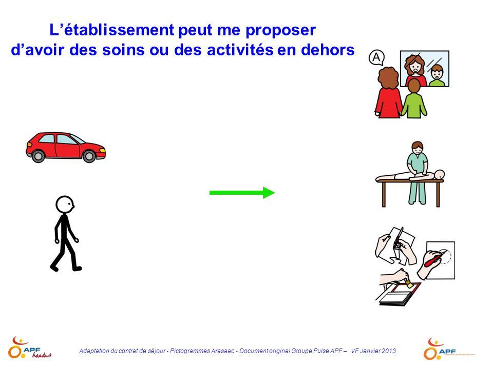 Adaptation du contrat de séjour - Pictogrammes Arasaac - Document original Groupe Pulse APF – VF Janvier 2013 Létablissement peut me proposer davoir d