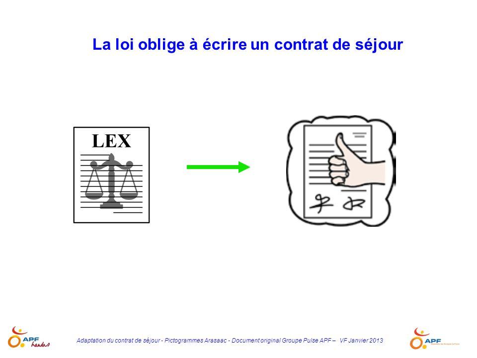 Adaptation du contrat de séjour - Pictogrammes Arasaac - Document original Groupe Pulse APF – VF Janvier 2013 Les pictogrammes utilisés dans ce livret proviennent presque tous de la banque de pictogrammes espagnols ARASAAC Ils sont la propriété de CATEDU sous licence Creative Commons et ont été créés par Sergio Palao pour CATEDU (http://catedu.es/arasaac/)CATEDUCreative CommonsSergio PalaoCATEDUhttp://catedu.es/arasaac/ Leur usage est donc libre, dans la limite dun usage non lucratif et à condition de citer la source et l auteur Toute édition ou publication de ces matériels à des fins commerciales est interdite Tout autre usage est rigoureusement interdit, sans l autorisation écrite des titulaires du Copyright, sous peine de sanctions établies par les lois Certains ont été modifiés ou retravaillés par PULSE Le groupe APF Handas PULSE remercie tous les auteurs de ces pictogrammes.