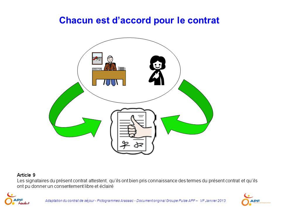 Adaptation du contrat de séjour - Pictogrammes Arasaac - Document original Groupe Pulse APF – VF Janvier 2013 Article 9 Les signataires du présent con