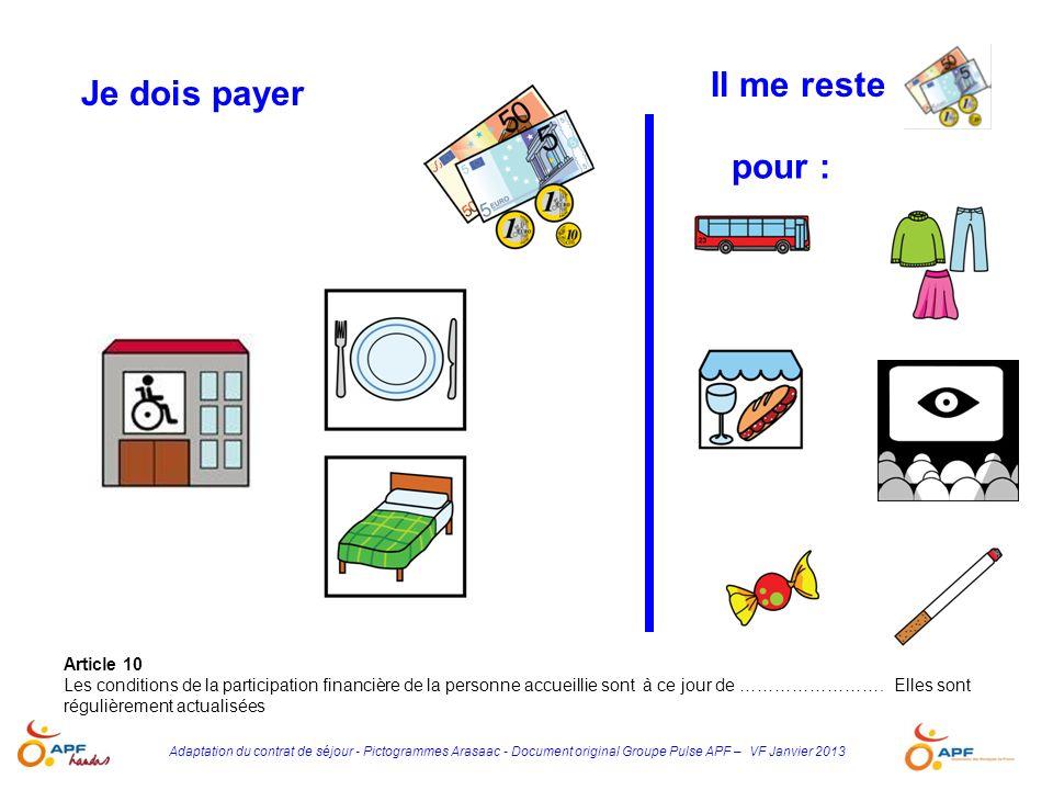 Adaptation du contrat de séjour - Pictogrammes Arasaac - Document original Groupe Pulse APF – VF Janvier 2013 Je dois payer Article 10 Les conditions