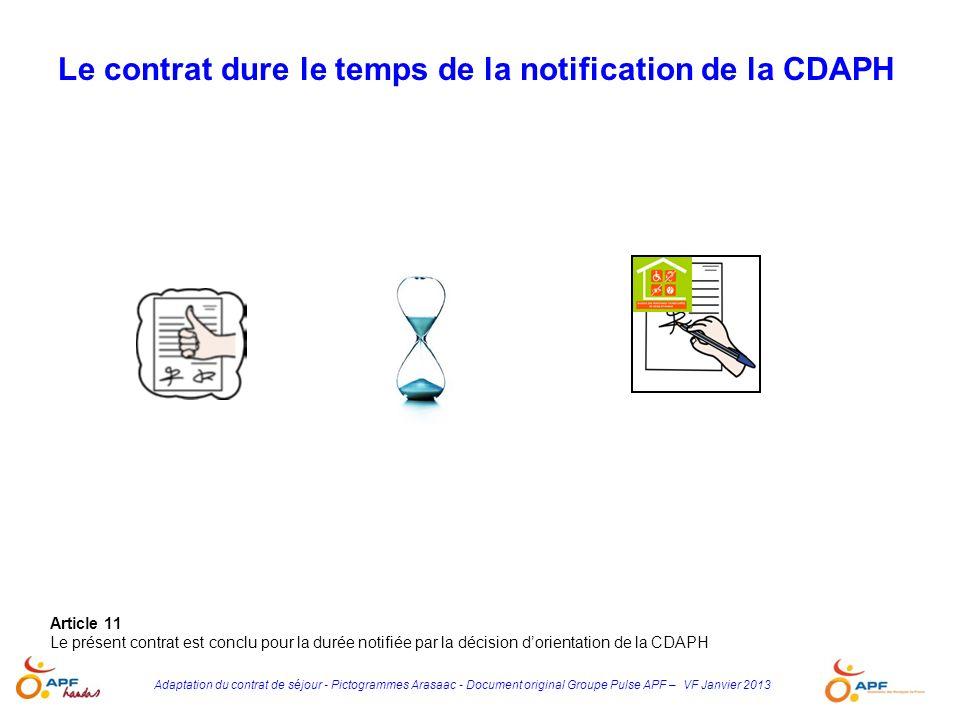 Adaptation du contrat de séjour - Pictogrammes Arasaac - Document original Groupe Pulse APF – VF Janvier 2013 Article 11 Le présent contrat est conclu