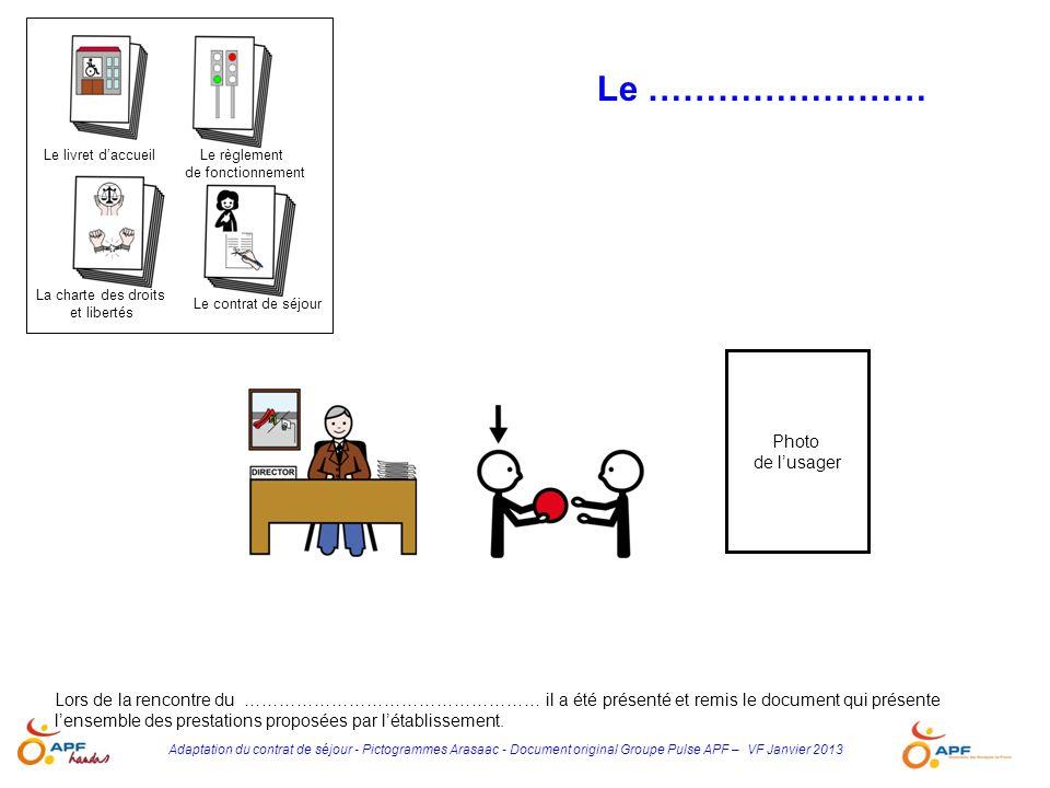 Adaptation du contrat de séjour - Pictogrammes Arasaac - Document original Groupe Pulse APF – VF Janvier 2013 Lors de la rencontre du …………………………………………