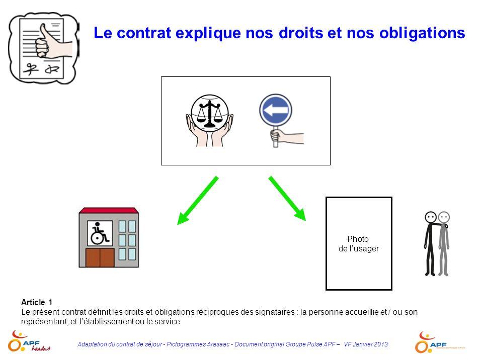 Adaptation du contrat de séjour - Pictogrammes Arasaac - Document original Groupe Pulse APF – VF Janvier 2013 Article 1 Le présent contrat définit les