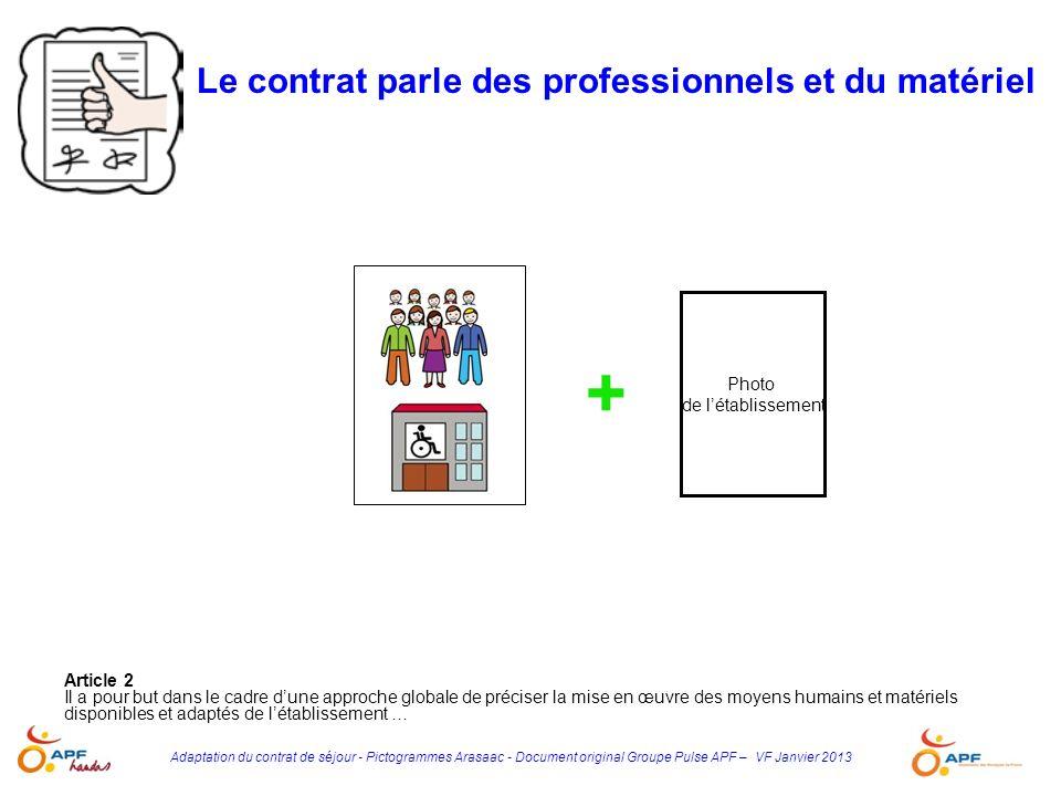 Adaptation du contrat de séjour - Pictogrammes Arasaac - Document original Groupe Pulse APF – VF Janvier 2013 Article 2 Il a pour but dans le cadre du