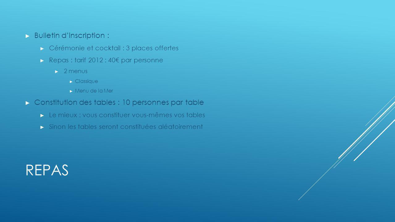 REPAS Bulletin dinscription : Cérémonie et cocktail : 3 places offertes Repas : tarif 2012 : 40 par personne 2 menus Classique Menu de la Mer Constitu