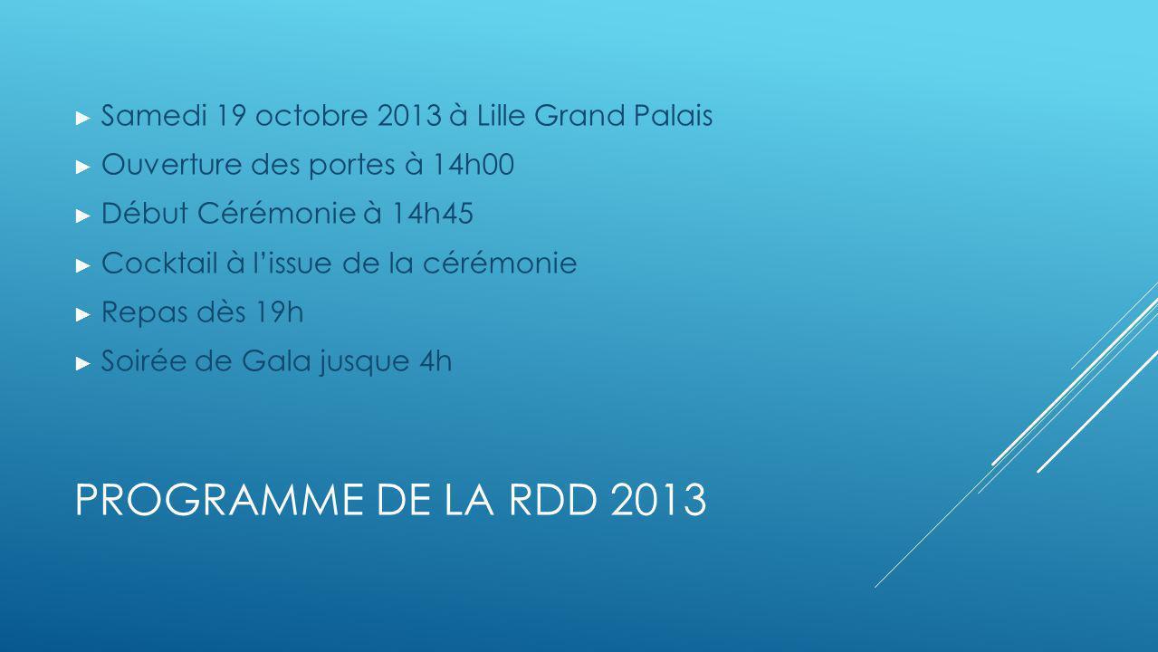 PROGRAMME DE LA RDD 2013 Samedi 19 octobre 2013 à Lille Grand Palais Ouverture des portes à 14h00 Début Cérémonie à 14h45 Cocktail à lissue de la céré