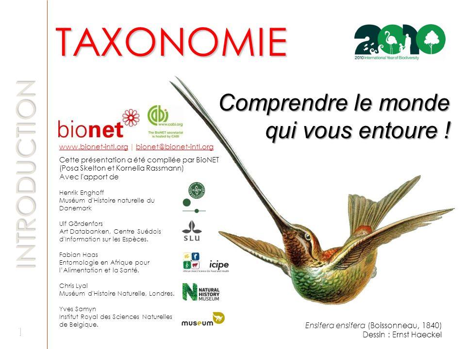 TAXONOMIE Comprendre le monde qui vous entoure ! INTRODUCTION www.bionet-intl.orgwww.bionet-intl.org | bionet@bionet-intl.orgbionet@bionet-intl.org Ce