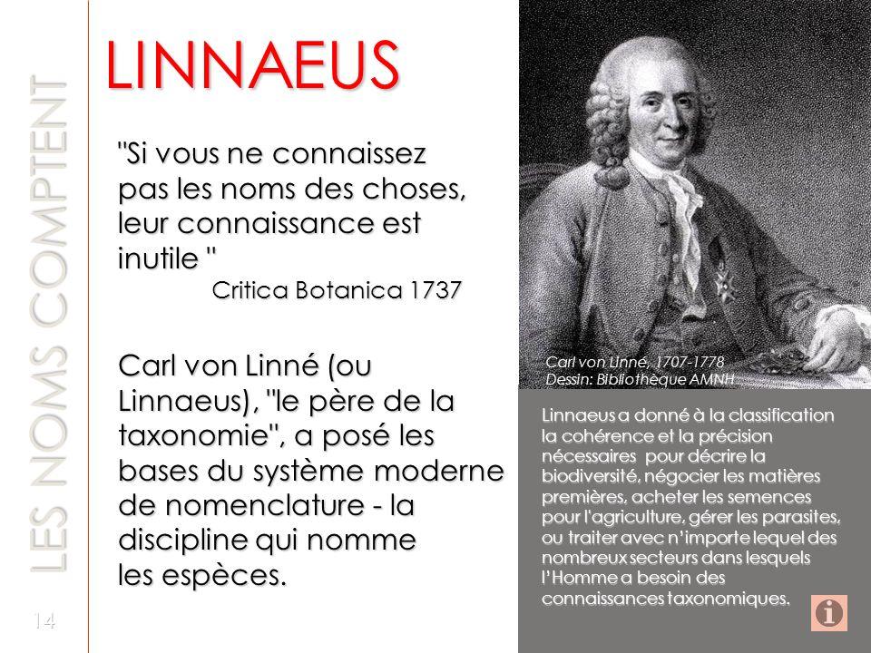 Si vous ne connaissez pas les noms des choses, leur connaissance est inutile Critica Botanica 1737 Critica Botanica 1737 Carl von Linné (ou Linnaeus), le père de la taxonomie , a posé les bases du système moderne de nomenclature - la discipline qui nomme les espèces.