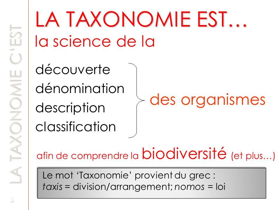 LA TAXONOMIE EST… la science de la découverte dénomination description classification Le mot Taxonomie provient du grec : taxis = division/arrangement