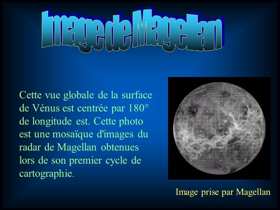 Cette vue globale de la surface de Vénus est centrée par 180° de longitude est. Cette photo est une mosaïque d'images du radar de Magellan obtenues lo