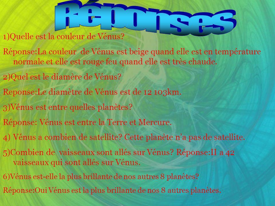 1)Quelle est la couleur de Vénus? Réponse:La couleur de Vénus est beige quand elle est en température normale et elle est rouge feu quand elle est trè