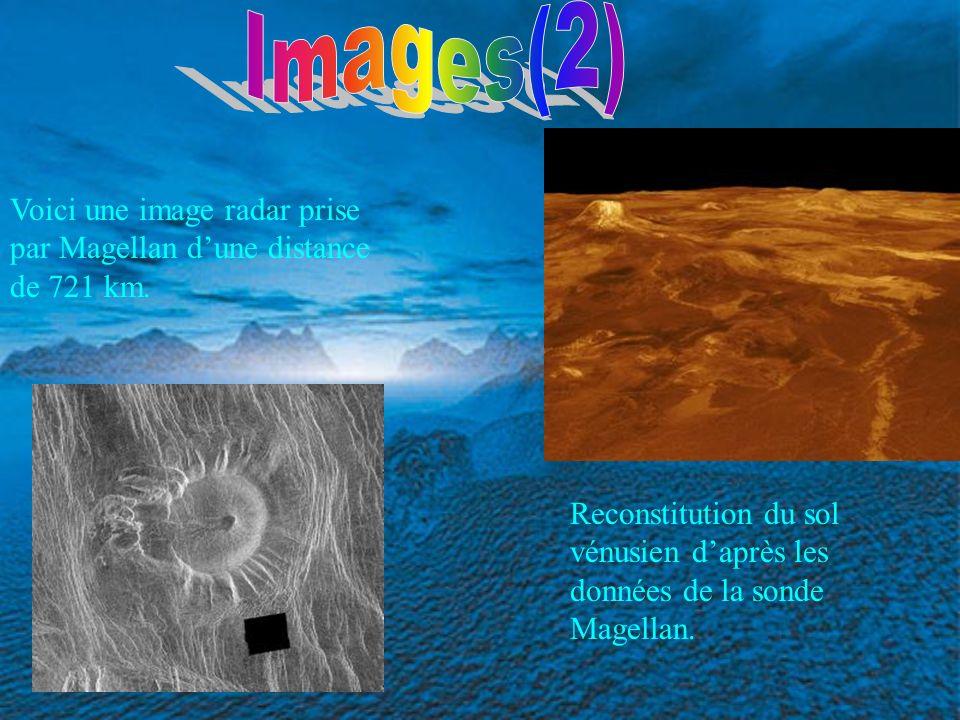 Reconstitution du sol vénusien daprès les données de la sonde Magellan. Voici une image radar prise par Magellan dune distance de 721 km.