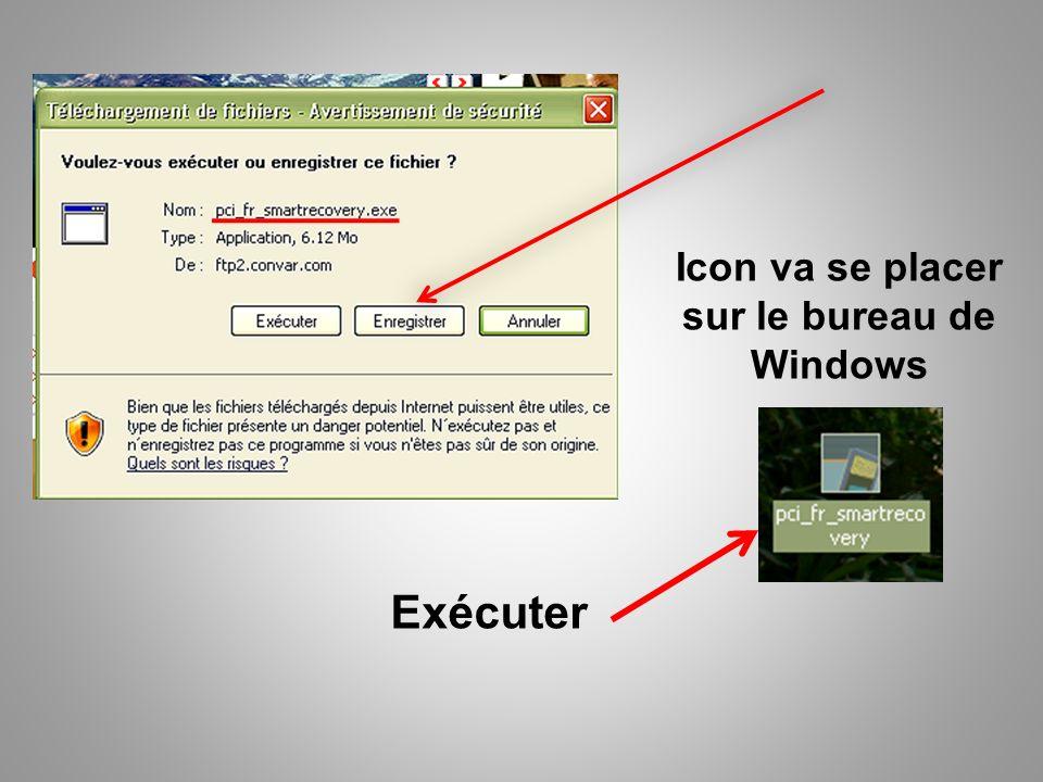 Exécuter Icon va se placer sur le bureau de Windows