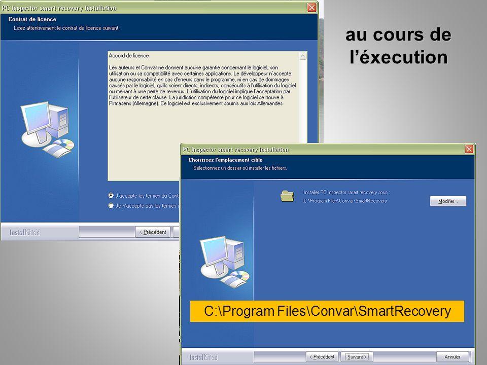 au cours de léxecution C:\Program Files\Convar\SmartRecovery
