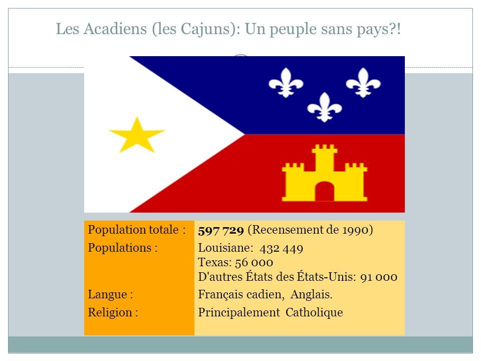 Les Acadiens (les Cajuns): Un peuple sans pays?! Population totale :597 729 (Recensement de 1990) Populations :Louisiane: 432 449 Texas: 56 000 D'autr