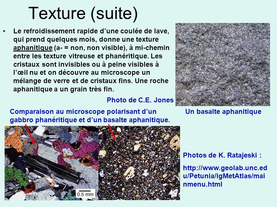 Texture (suite) Le refroidissement rapide dune coulée de lave, qui prend quelques mois, donne une texture aphanitique (a- = non, non visible), à mi-ch