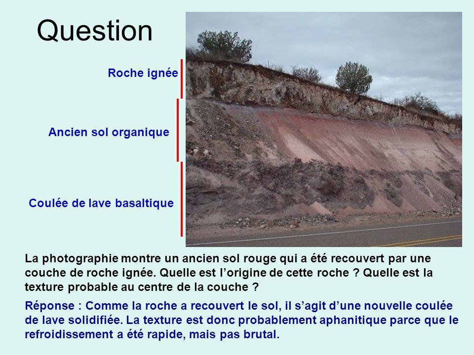 Question La photographie montre un ancien sol rouge qui a été recouvert par une couche de roche ignée. Quelle est lorigine de cette roche ? Quelle est