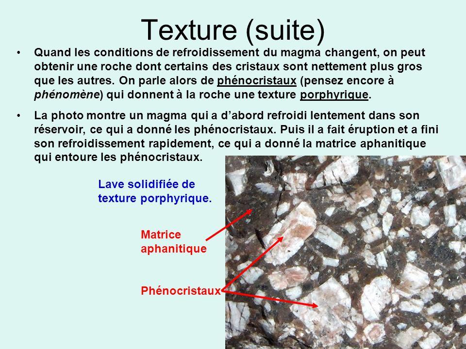 Texture (suite) Quand les conditions de refroidissement du magma changent, on peut obtenir une roche dont certains des cristaux sont nettement plus gr