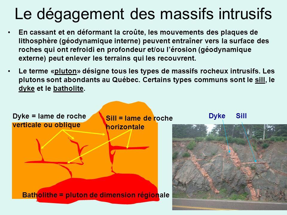 Le dégagement des massifs intrusifs En cassant et en déformant la croûte, les mouvements des plaques de lithosphère (géodynamique interne) peuvent ent