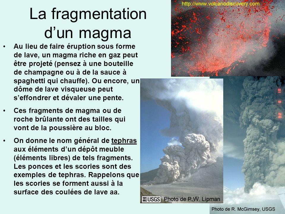 La fragmentation dun magma Au lieu de faire éruption sous forme de lave, un magma riche en gaz peut être projeté (pensez à une bouteille de champagne