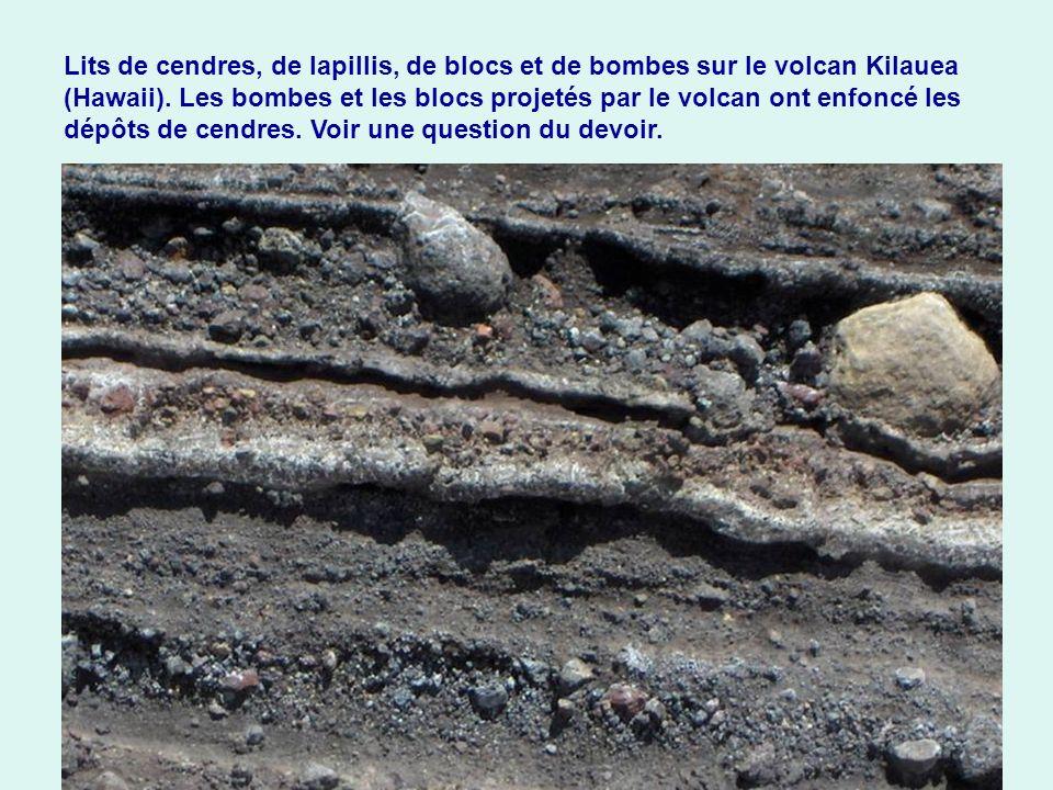 Lits de cendres, de lapillis, de blocs et de bombes sur le volcan Kilauea (Hawaii). Les bombes et les blocs projetés par le volcan ont enfoncé les dép