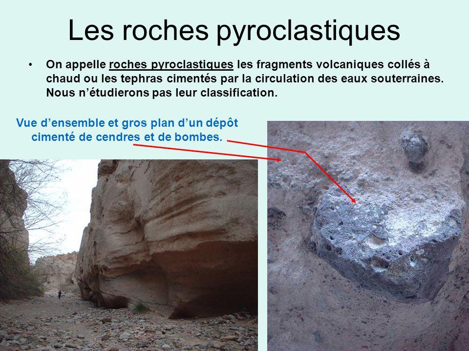 Les roches pyroclastiques On appelle roches pyroclastiques les fragments volcaniques collés à chaud ou les tephras cimentés par la circulation des eau