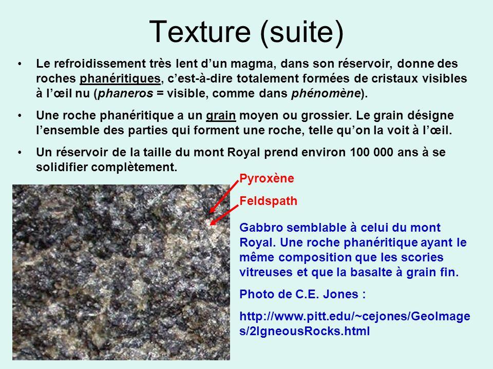 Texture (suite) Le refroidissement très lent dun magma, dans son réservoir, donne des roches phanéritiques, cest-à-dire totalement formées de cristaux