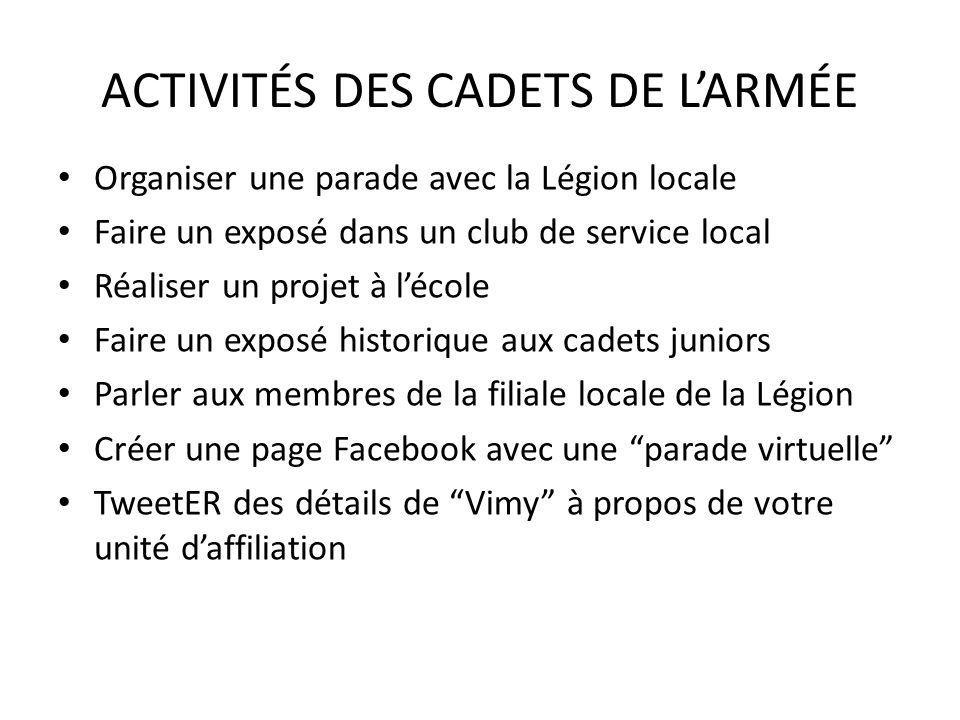 ACTIVITÉS DES CADETS DE LARMÉE Organiser une parade avec la Légion locale Faire un exposé dans un club de service local Réaliser un projet à lécole Fa