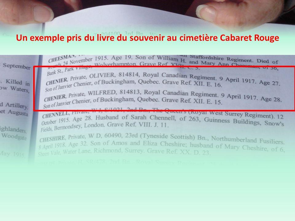 Un exemple pris du livre du souvenir au cimetière Cabaret Rouge