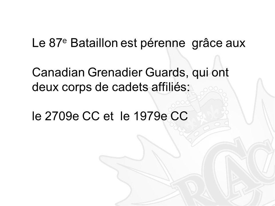 Le 87 e Bataillon est pérenne grâce aux Canadian Grenadier Guards, qui ont deux corps de cadets affiliés: le 2709e CC et le 1979e CC