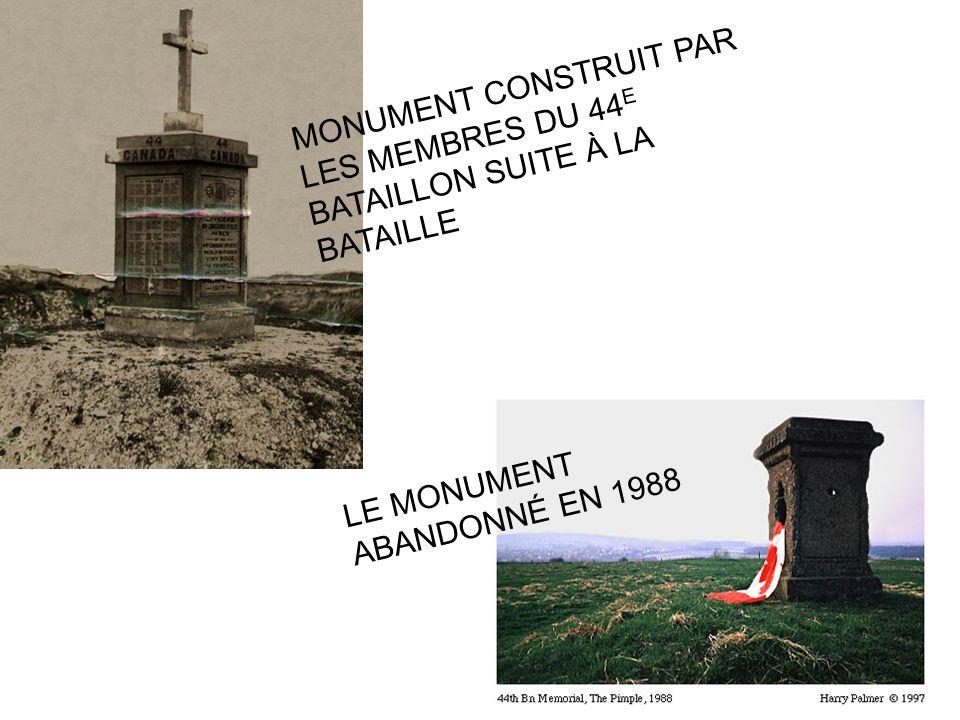 MONUMENT CONSTRUIT PAR LES MEMBRES DU 44 E BATAILLON SUITE À LA BATAILLE LE MONUMENT ABANDONNÉ EN 1988