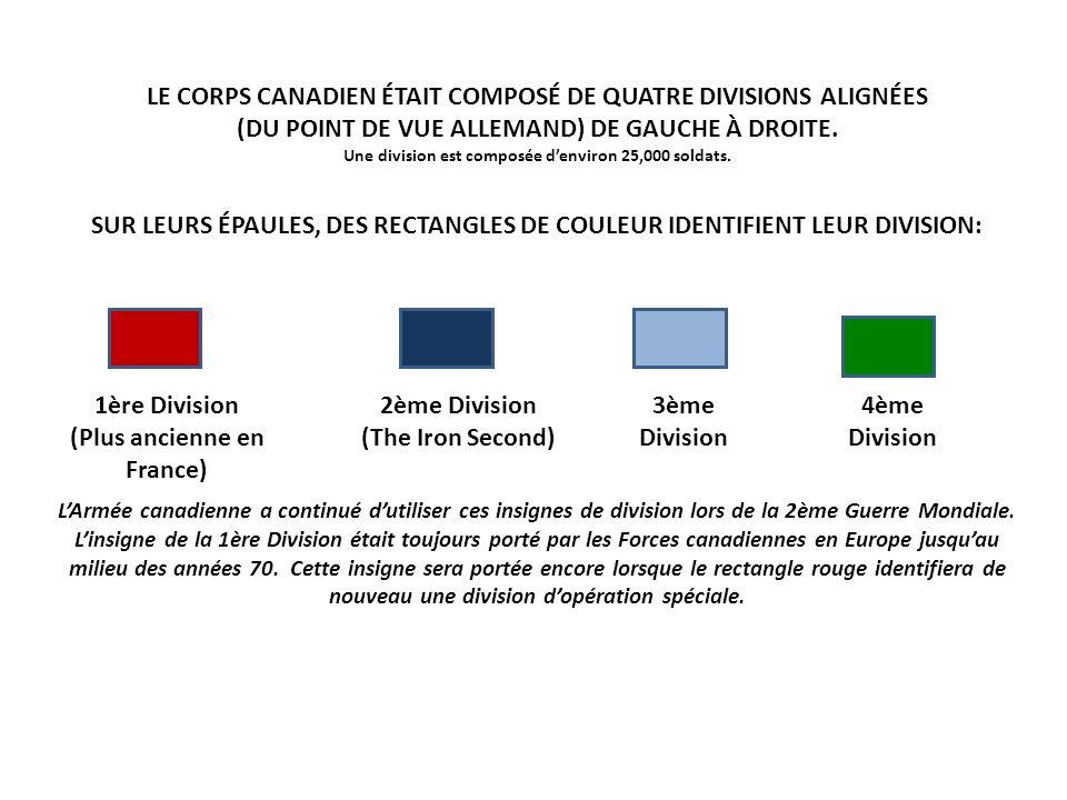 LE CORPS CANADIEN ÉTAIT COMPOSÉ DE QUATRE DIVISIONS ALIGNÉES (DU POINT DE VUE ALLEMAND) DE GAUCHE À DROITE. Une division est composée denviron 25,000