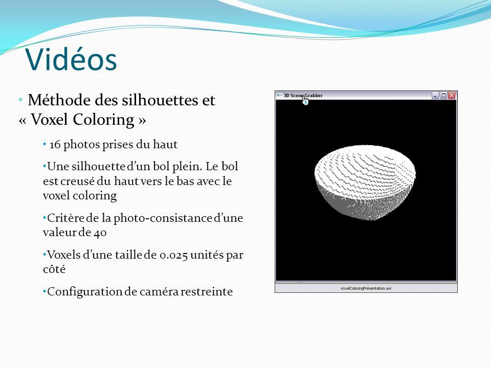 Vidéos Méthode des silhouettes et « Voxel Coloring » 16 photos prises du haut Une silhouette dun bol plein. Le bol est creusé du haut vers le bas avec