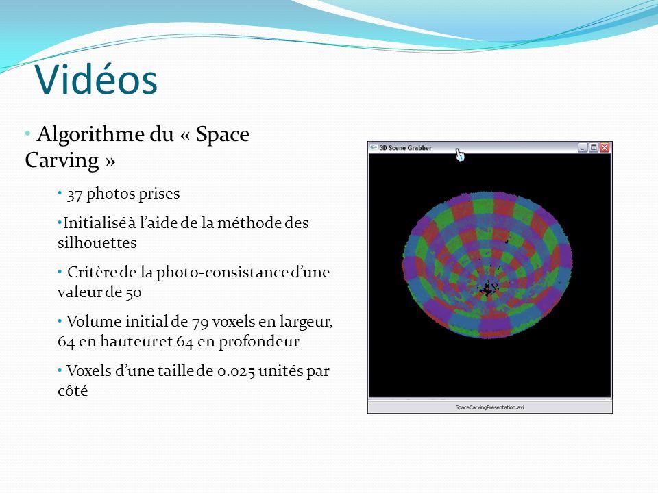 Vidéos Algorithme du « Space Carving » 37 photos prises Initialisé à laide de la méthode des silhouettes Critère de la photo-consistance dune valeur d