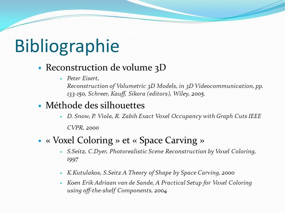 Bibliographie Reconstruction de volume 3D Peter Eisert, Reconstruction of Volumetric 3D Models, in 3D Videocommunication, pp. 133-150, Schreer, Kauff,