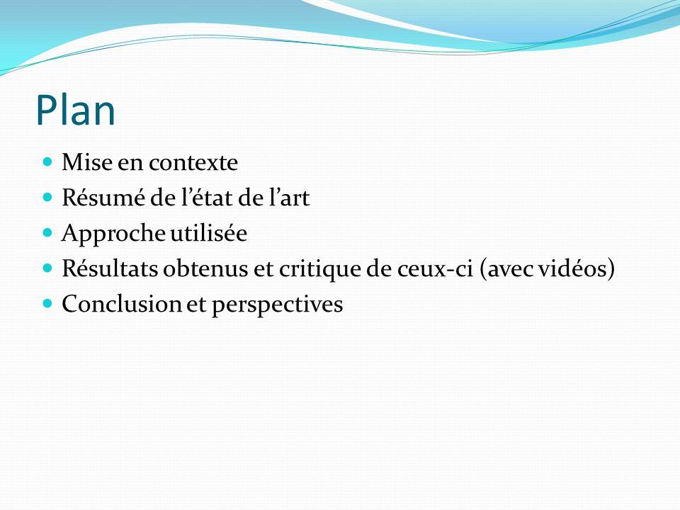 Plan Mise en contexte Résumé de létat de lart Approche utilisée Résultats obtenus et critique de ceux-ci (avec vidéos) Conclusion et perspectives