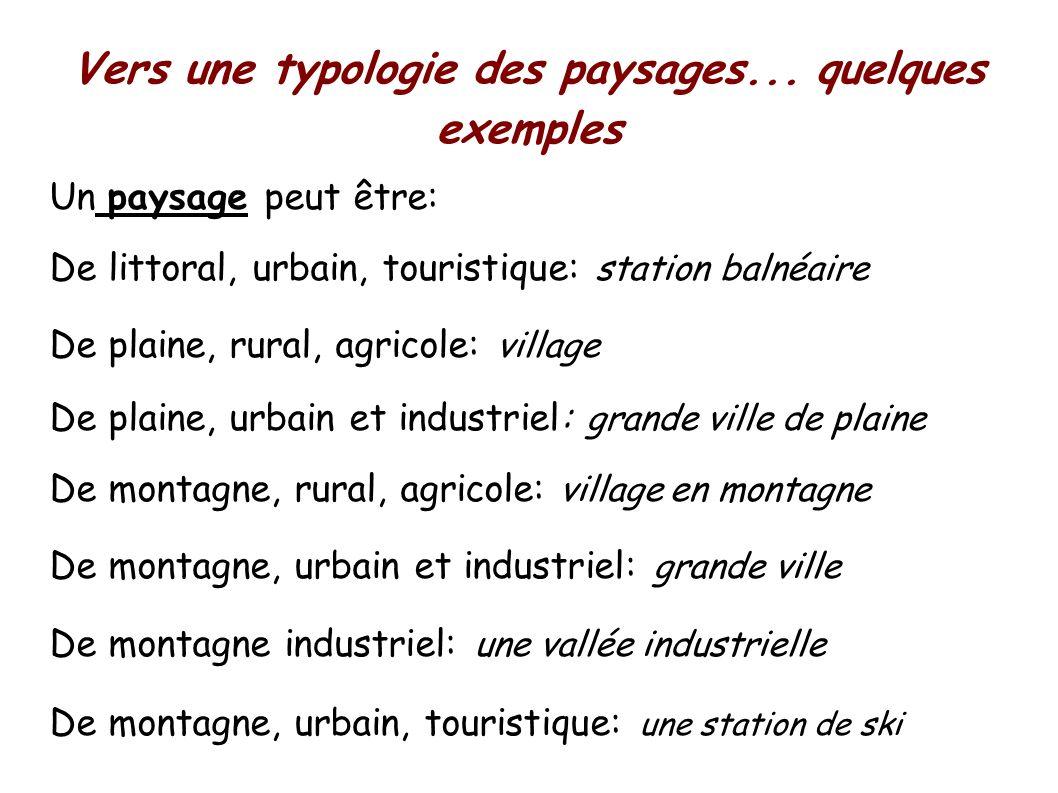 Vers une typologie des paysages...