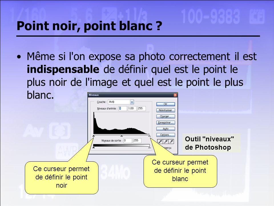 Point noir, point blanc ? Même si l'on expose sa photo correctement il est indispensable de définir quel est le point le plus noir de l'image et quel