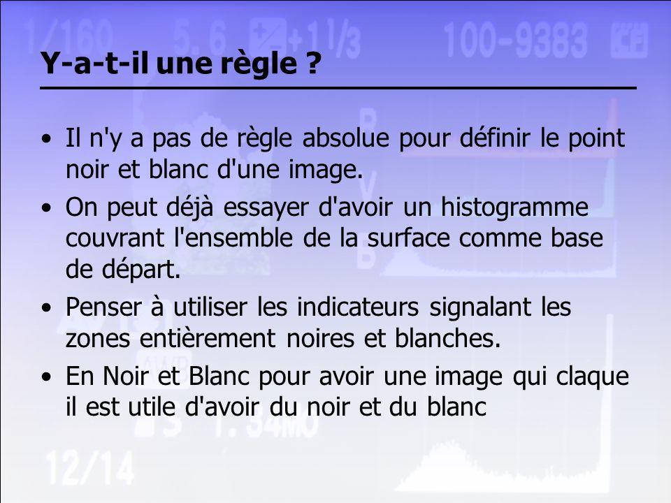 Y-a-t-il une règle ? Il n'y a pas de règle absolue pour définir le point noir et blanc d'une image. On peut déjà essayer d'avoir un histogramme couvra